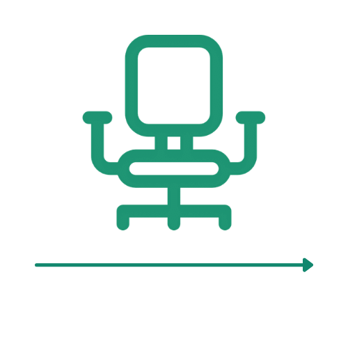 Ikona fotela biurowego - 3 etap ścieżki zakupu Carriere Design