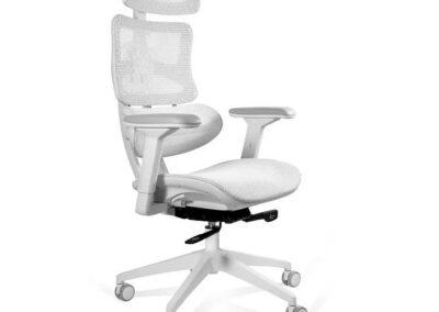 biały fotel obrotowy ergotech