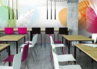 nowoczesna aranżacja z krzesłami fondo