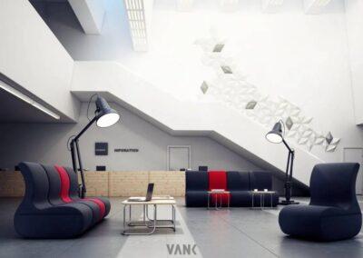 nowoczesna aranżacja systemu soft seating