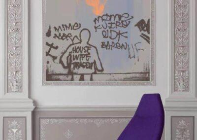 fioletowy fotel thunder z podnóżkiem